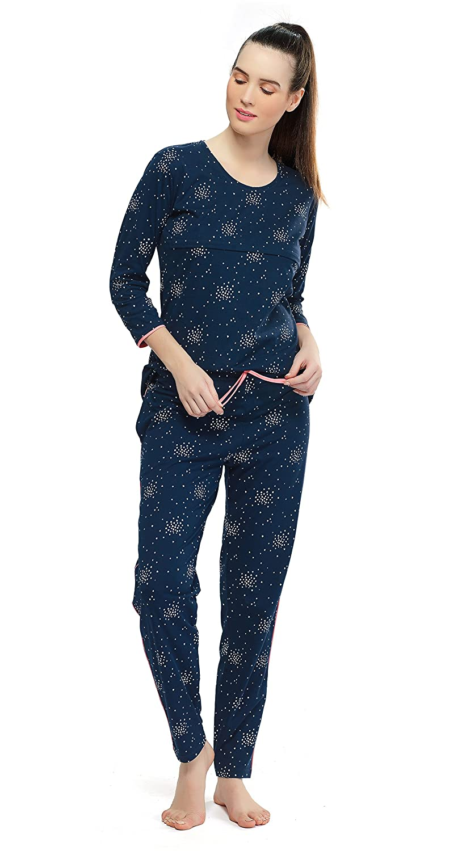bea528b72 ZEYO Women s Cotton Navy Blue   Pink Feeding Night Suit