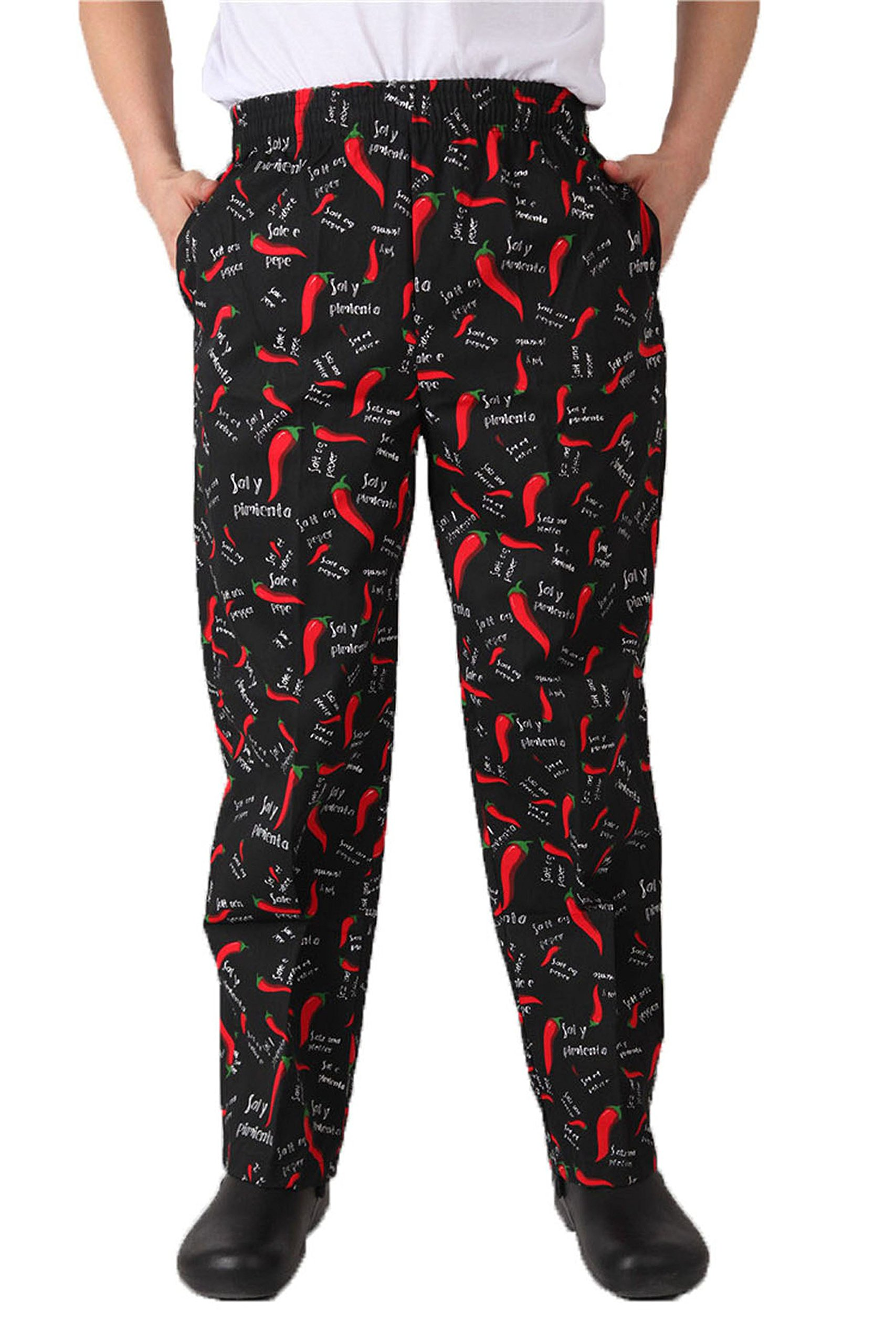 S.S Men Elastic Print Cotton Pepper Chef Pants (Large, Pepper Print)