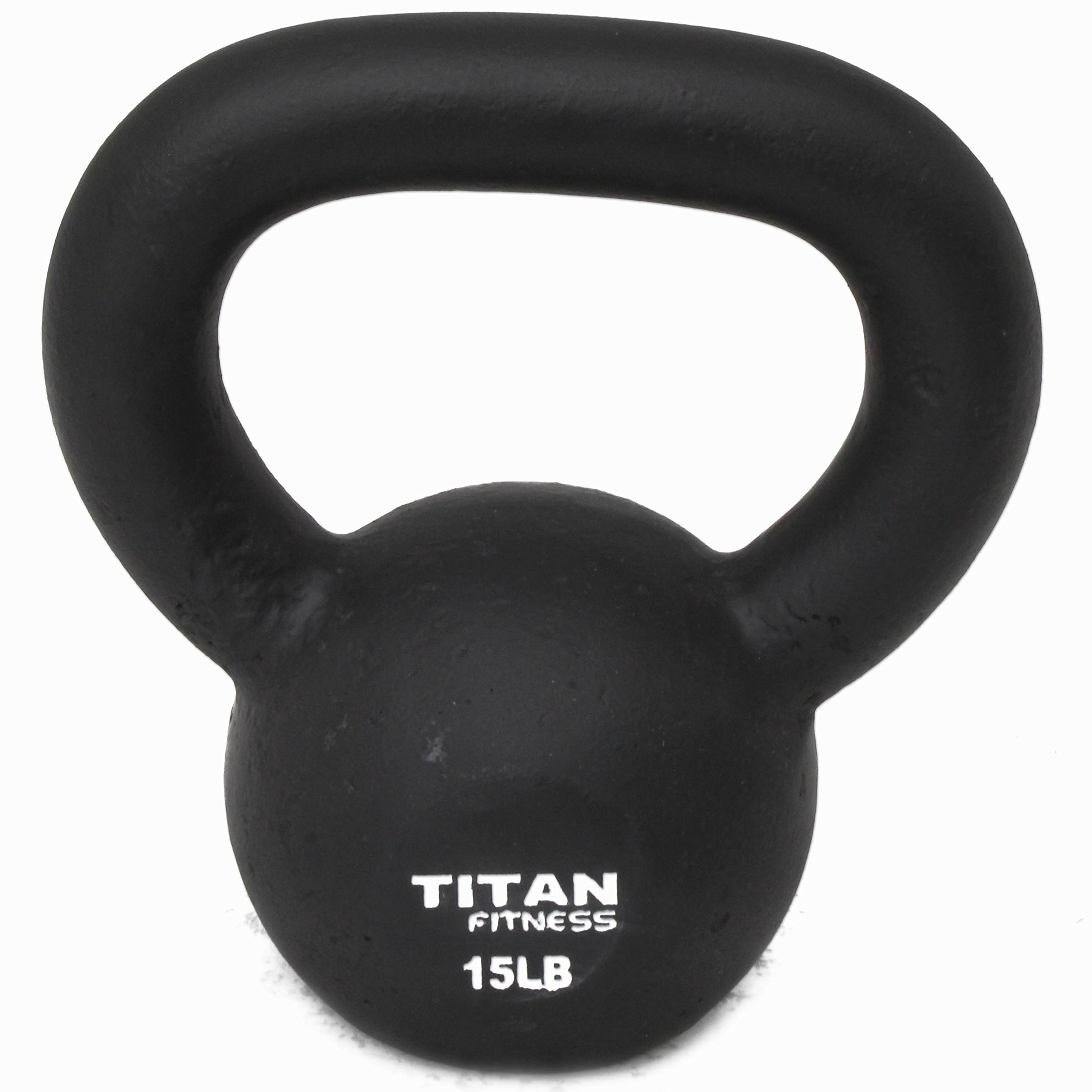 Titan Fitness Cast Iron Kettlebell Weight 15 Lbs Natural Solid Workout Swing by Titan Fitness