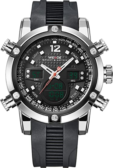 Weide - Reloj de cuarzo, correa de goma, analógico, digital con espacio para fecha y tiempo, color negro: Amazon.es: Relojes