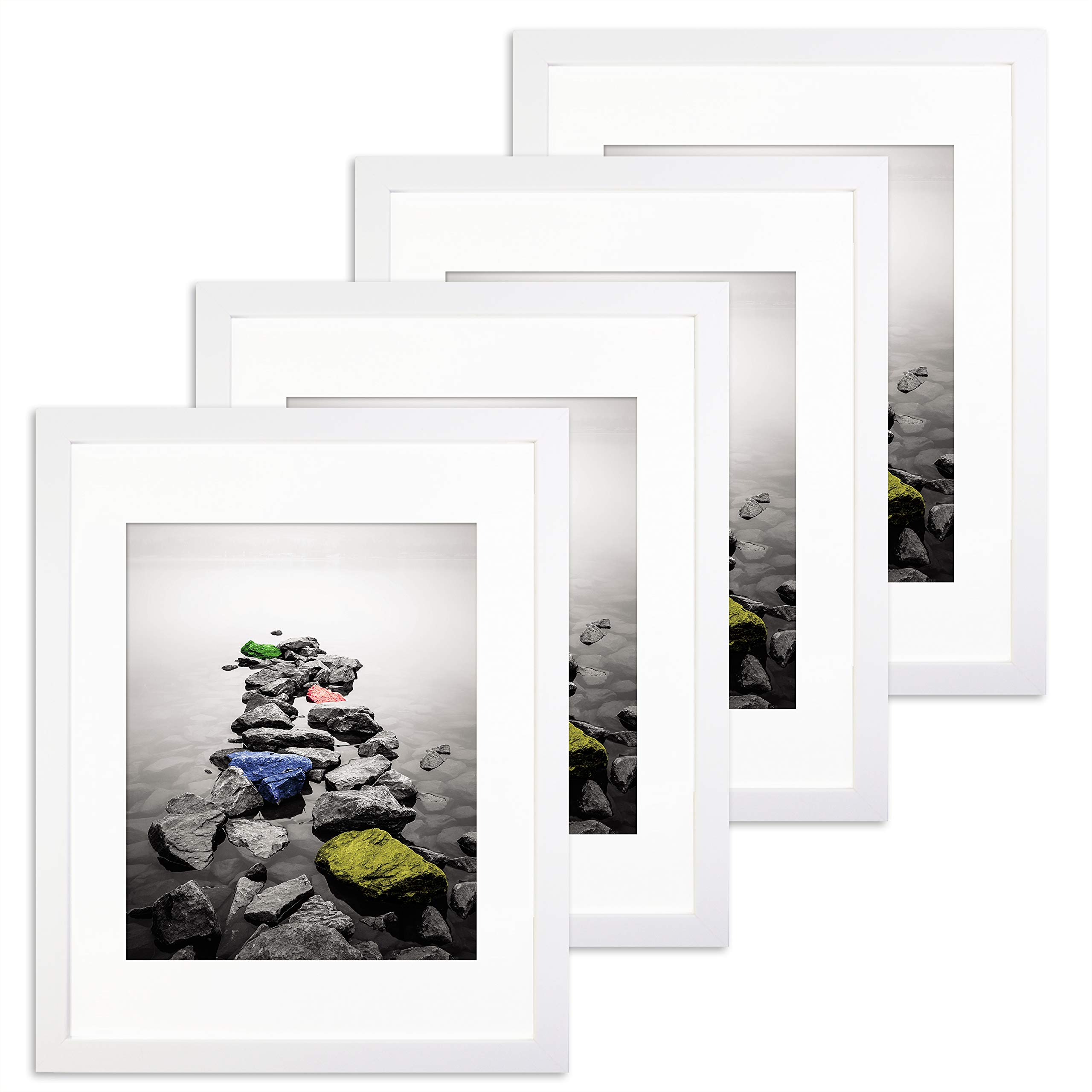 Superdecor 11x14 White Picture Frame 4 Pack - Made to Display Pictures 8x10 with Mat or 11x14 Without Mat - Decorative Poster Frame Wall and Tabletop Display - Pre-Installed Wall Mounting Hardware