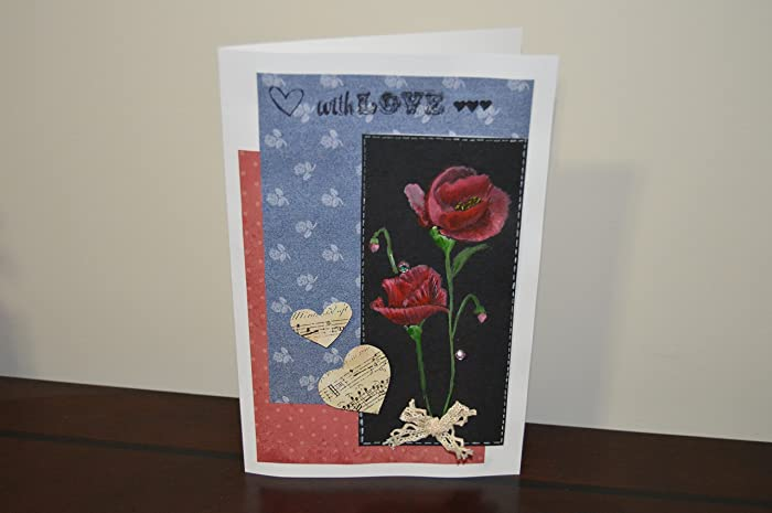 Amazon handmade greeting card with exquisite hand painted handmade greeting card with exquisite hand painted flowers and decorated with craft material can be m4hsunfo