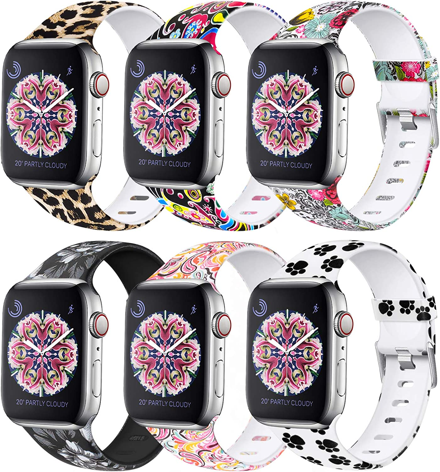 Laffav Compatible with Apple Watch Band 40mm 38mm iWatch SE & Series 6 & Series 5 4 3 2 1 for Women Men, 6 Pack, M/L