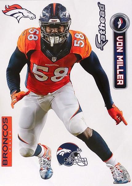 4acc776d Amazon.com: FATHEAD Von Miller Denver Broncos Logo Set Official NFL Vinyl  Wall Graphics 17