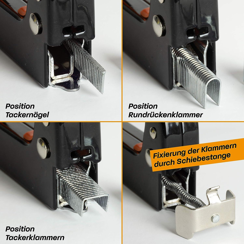 Gratis Cuttermesser Handtacker Holz mit Klammern N/ägeln Hinrichs Handtacker im Koffer Tacker Handwerker zum Fixieren