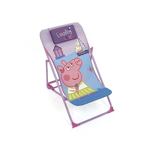 ARDITEX – Sillón de jardín/Playa Ajustable y Plegable para niños bajo Licencia Peppa Pig en Metal, tamaño: 43 x 66 x 61 cm, Tela, 61 x 43 x 66 cm