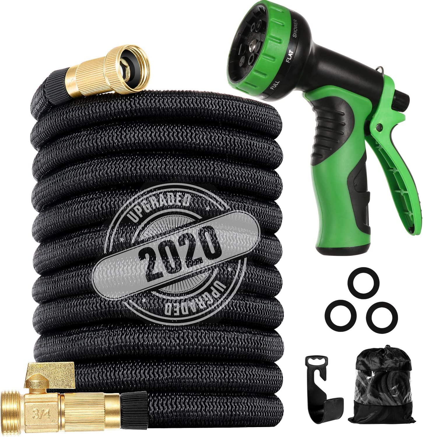 "LINQUO 200 ft Flexible and Expandable Garden Hose - Strongest Triple Latex Core with 3/4"" Solid Brass Fittings Free 9 Function Spray Nozzle, Easy Storage Kink Free Water Hose"