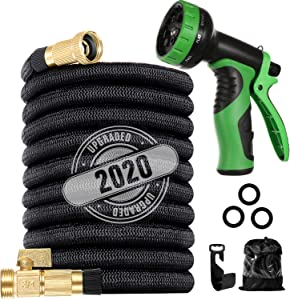 """200 ft Flexible and Expandable Garden Hose -2020 Upgraded Retractable Water Hose- Strongest Triple Latex Core with 3/4"""" Solid Brass Fittings ,10 Function Spray Nozzle,Ideal for Watering and Washing"""