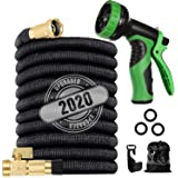 """LINQUO 200 ft Flexible and Expandable Garden Hose - Strongest Triple Latex Core with 3/4"""" Solid Brass Fittings Free 9…"""