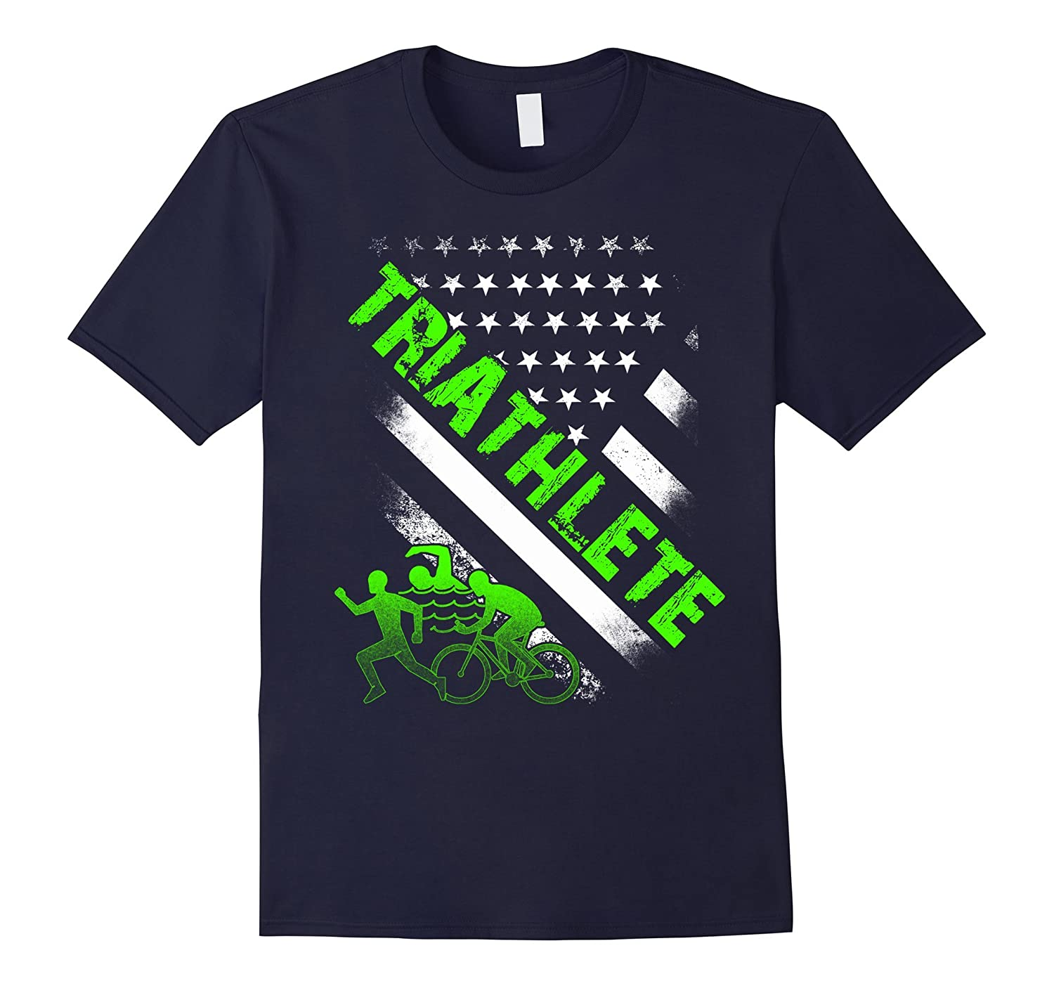 Swim Bike Run USA flag Triathlete Triathlon Tri t shirt fun-TH
