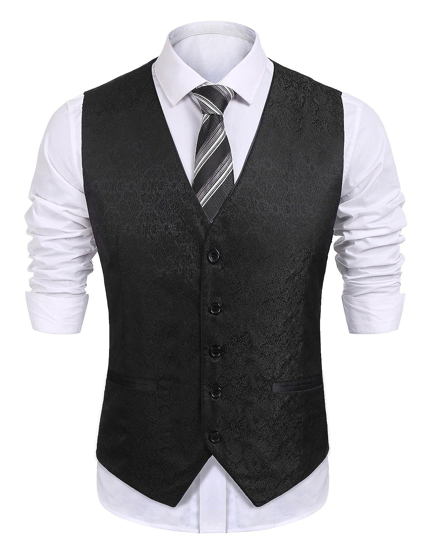 8c5417866 Top1: COOFANDY Mens Dress Tuxedo Vest Paisley Embroidery Wedding Formal  Waistcoat