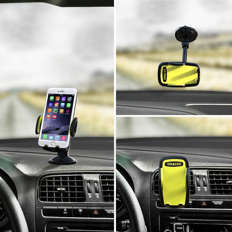 【3in1セット車載ホルダー】Omaker(オーメイカー)アイコンとダッシュボードとフロントガラスに取り付けスマホホルダー 元気な明るい黄色(ブラック+キイイロ)OMA4110