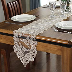 Bettery Home Lace Table Runner and Dresser Scarf Embroidered Flower Champagne Table Runner 10 x 82 Inches Wedding Party Baby Shower Dining Table Decor