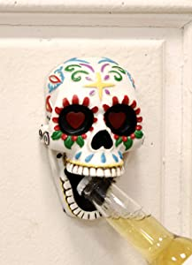 Ebros Gift Day of The Dead White Colorful Floral Exotic Mexican Sugar Skull Wall Mounted Bottle Opener Home And Kitchen Bar Accessory Figurine