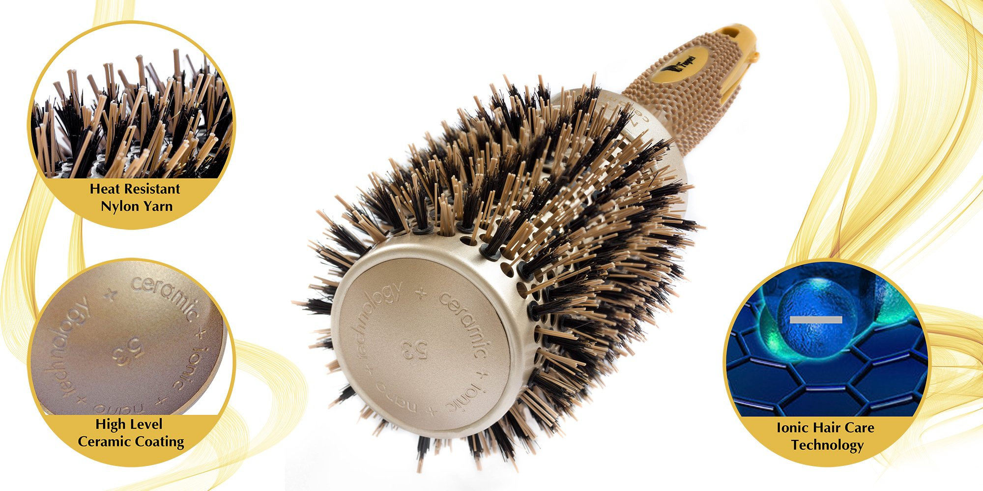 Fagaci Round Brush for Blow Drying with Natural Boar Bristle, Professional Round Hair Brush Nano Technology Ceramic + Ionic for Hair Styling, Drying, Healthy Hair and Add Volume + 4 Styling Clips by Fagaci (Image #3)