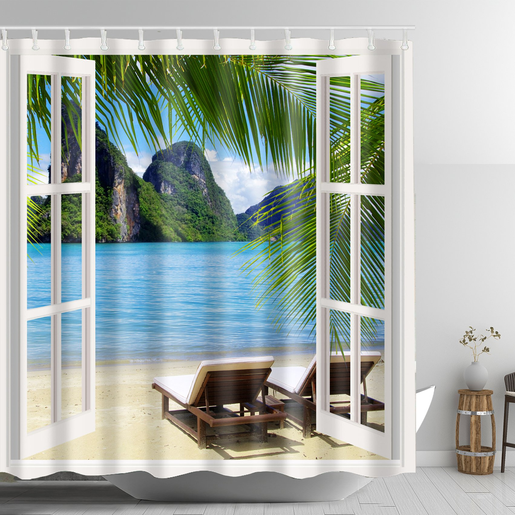 ABxinyoule Palm Beach Recliners through White Wooden Window Shower Curtain Landscape Scenery Waterproof Fabric Polyester