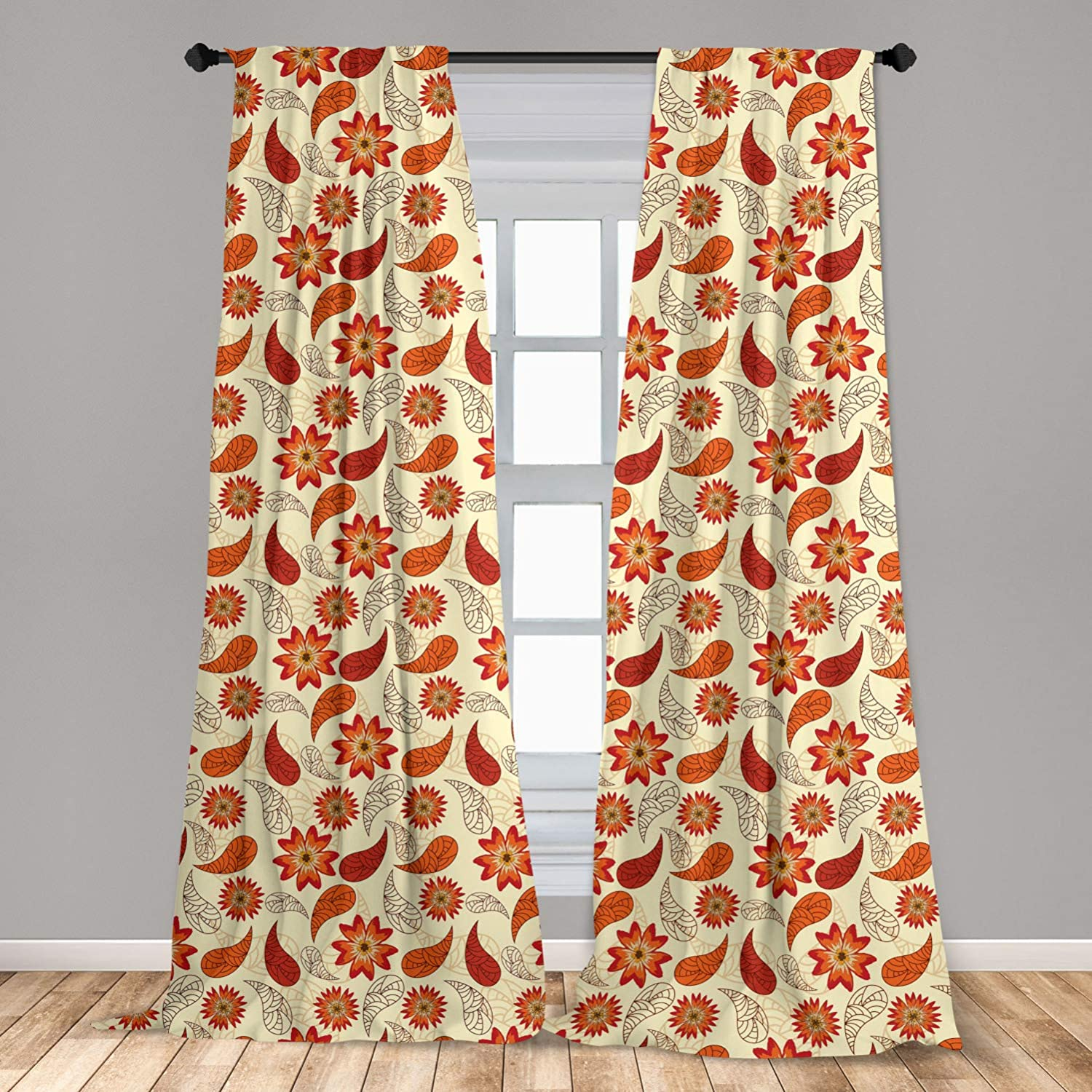 Ambesonne Orange 2 Panel Curtain Set, Red Poppy Flowers in Retro Style and Leaves Flourish Paisley Pattern, Lightweight Window Treatment Living Room Bedroom Decor, 56