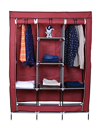 Kurtzy collapsible clothes storage wardrobe cupboard closet with 6 cabinet and 2 long shelves organizer hanging