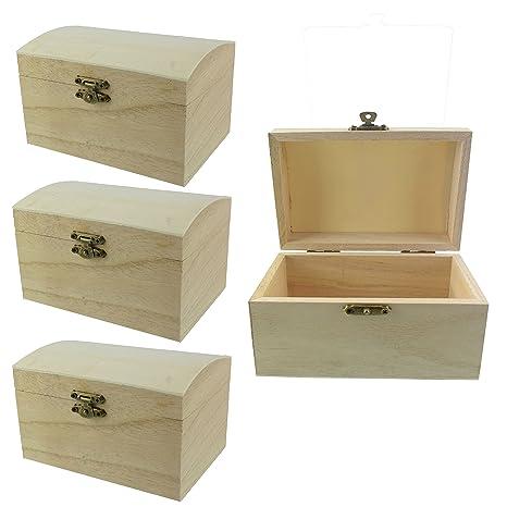 Juego de 3 caja de madera/baúl de madera con tapa Cofre del Tesoro DIY