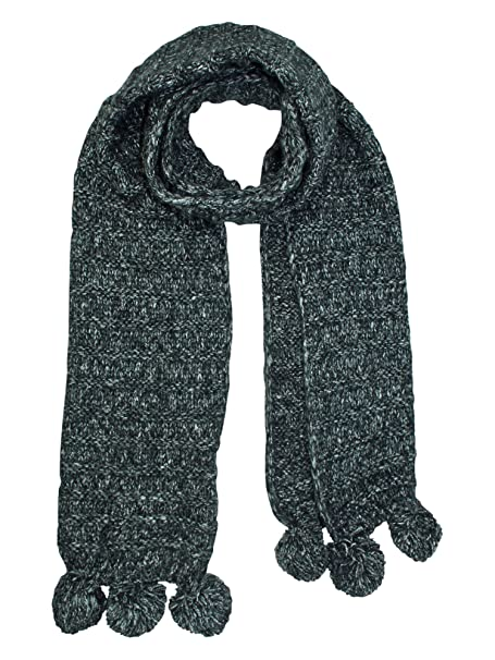 Black Thick Wide Ribbed Knit Scarf With Pom Poms At Amazon Womens
