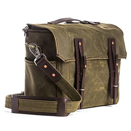 Saddleback Leather Large Waxed Canvas Gear Bag - Canvas and Leather Messenger - 100 Year Warranty
