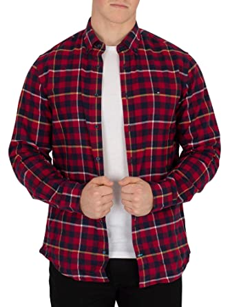 557d47ca Tommy Hilfiger Men's Gingham with A Twist Shirt, Red: Amazon.co.uk ...