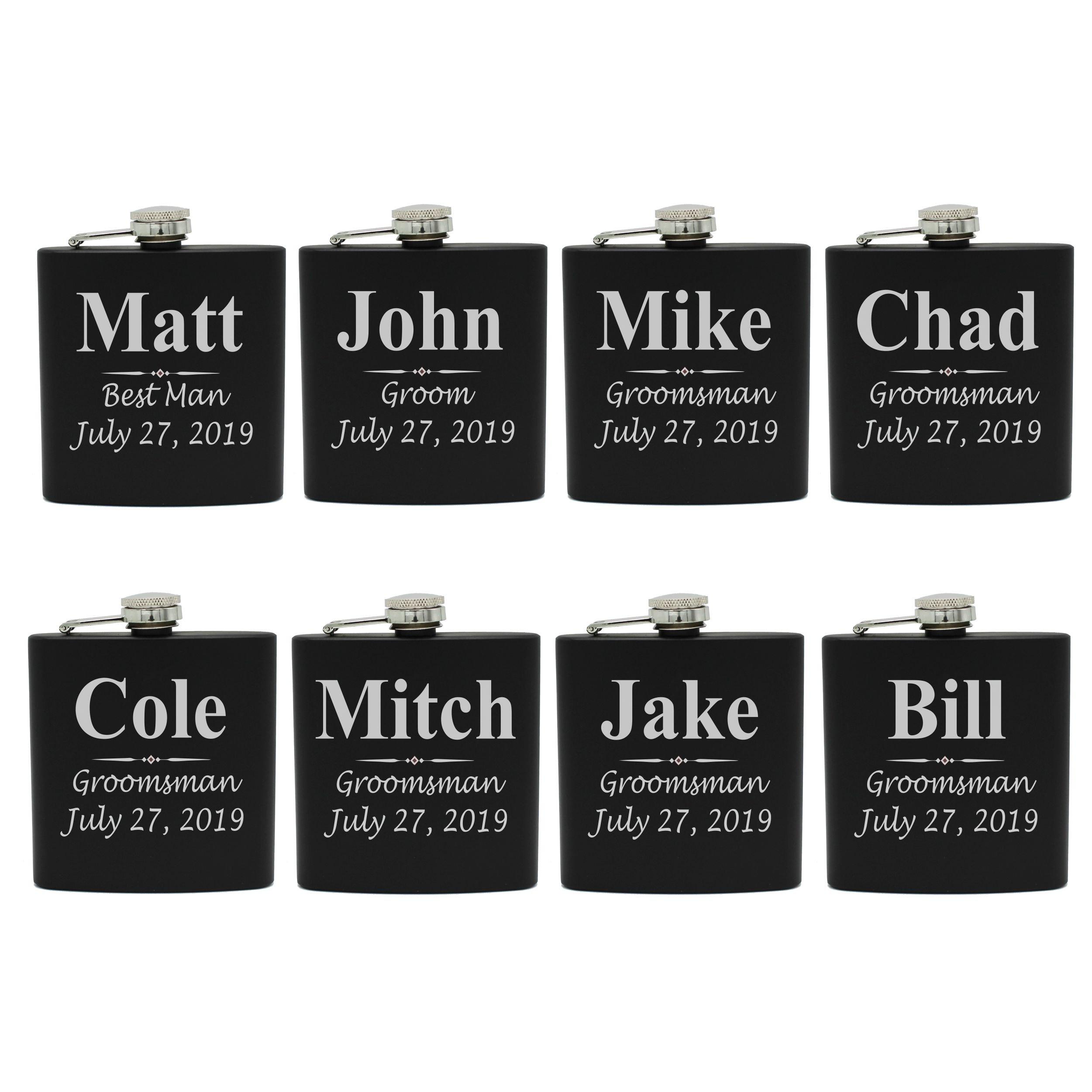 Set of 1, 2, 3, 4, 5, 6, 7, 8 Personalized Black Flask - Custom Engraved Groomsmen, Best Man, Groom Gift Flasks - 3 Lines Style (8) by My Personal Memories