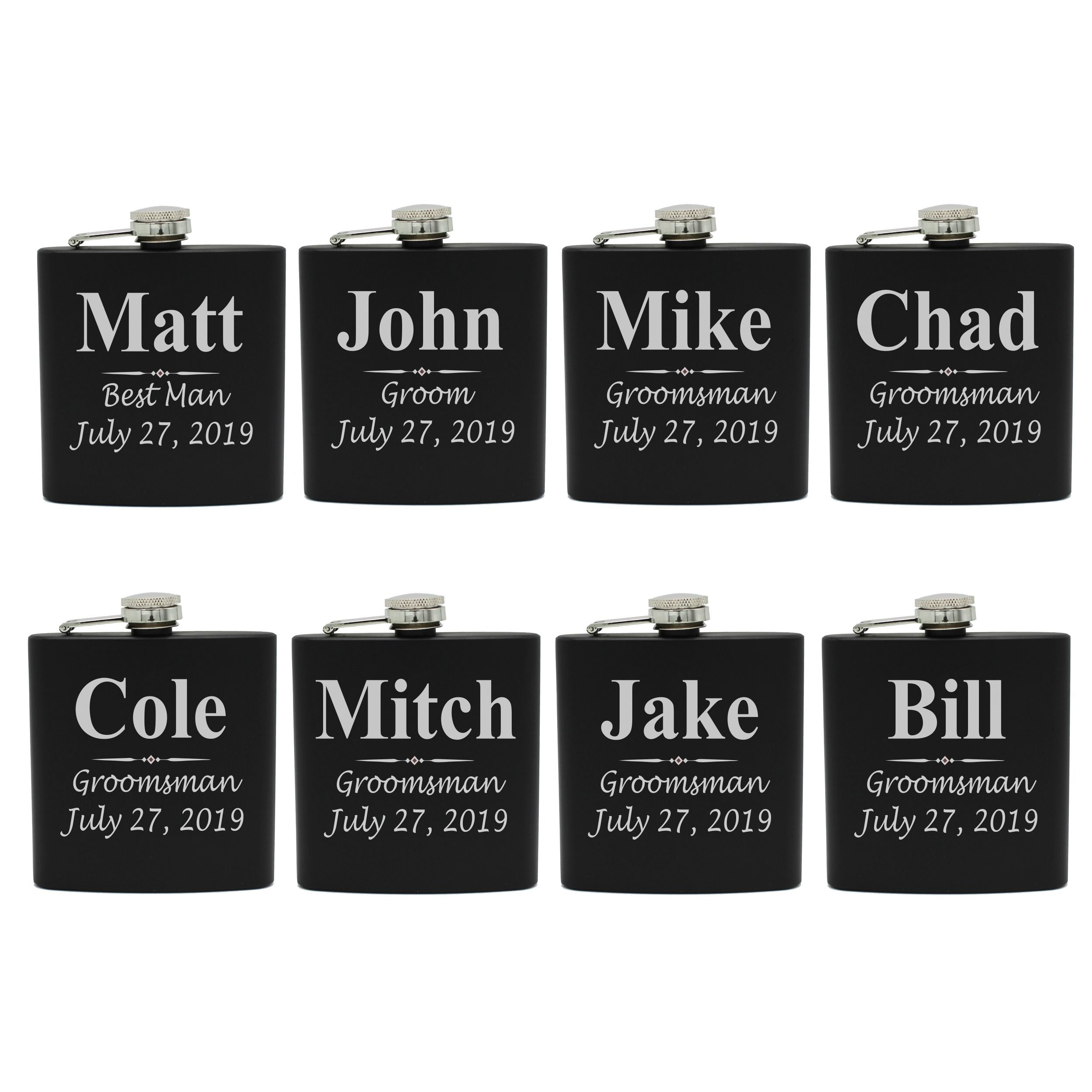 Set of 1, 2, 3, 4, 5, 6, 7, 8 Personalized Black Flask - Custom Engraved Groomsmen, Best Man, Groom Gift Flasks - 3 Lines Style (8)