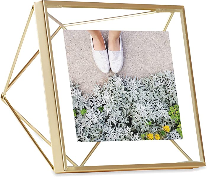 Umbra Picture Frame for Desktop or Wall, Holds One, 4 by 4-Inch, Brass