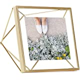 Umbra Prisma 4x4 Picture Frame – Geometric Wire Photo Frame for Desktop or Wall, Matte Brass