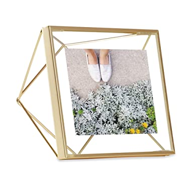 Umbra FBA_313017-221 Prisma 4 x 4 Frame – Floating Wall or Desk Photo Display for Pictures, Art, Illustrations, Graphic Text & More, Metal, Matte Brass, 4 by 4-Inch