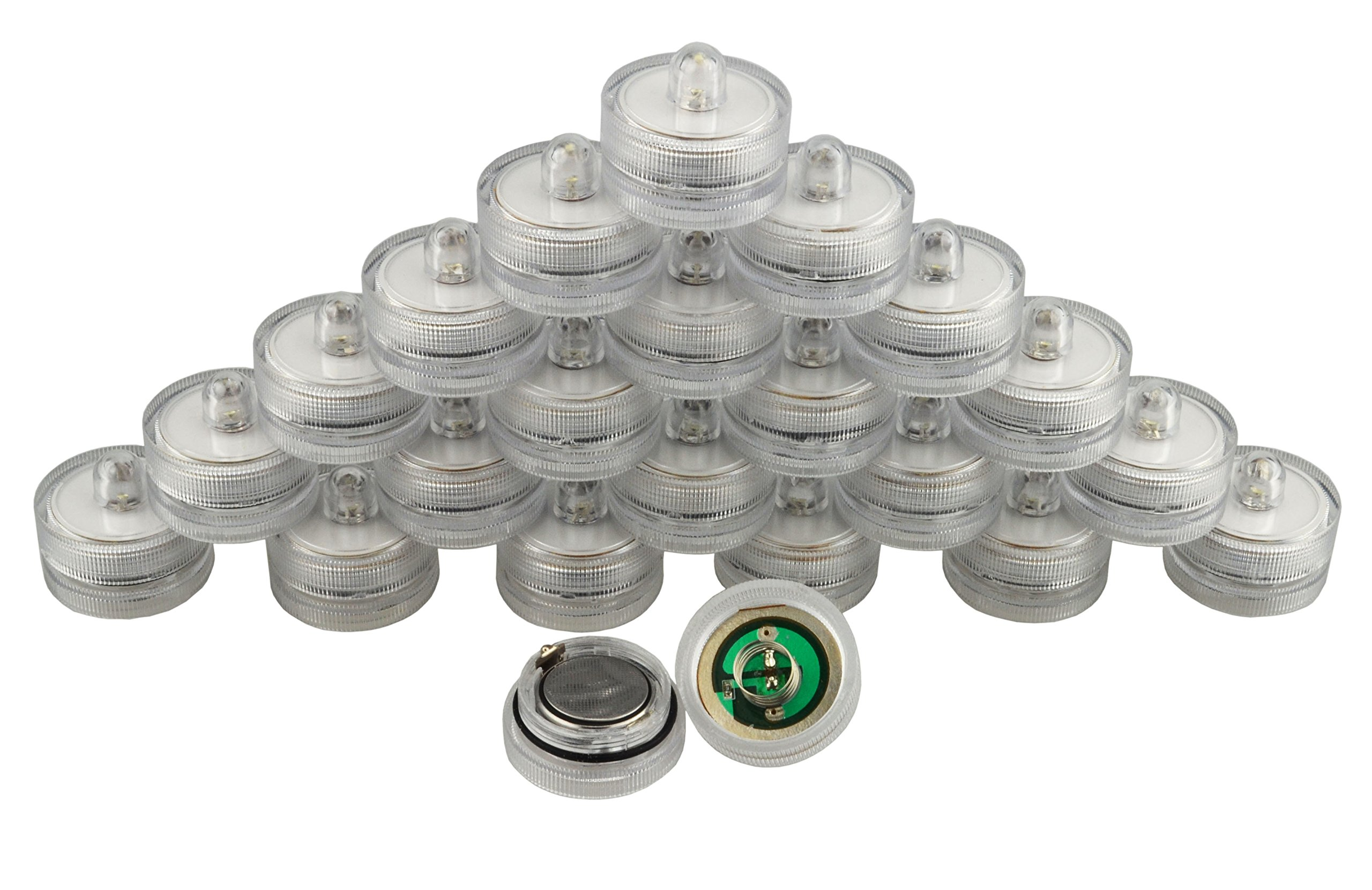 Samyo Set of 36 Waterproof Wedding Submersible Battery LED Tea Lights Underwater Sub Lights- Wedding Centerpieces Party Decorate (White) by Samyo (Image #7)