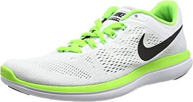 NIKE Flex 2016 RN Zapatillas, Hombre, Blanco (White/Black-Anthrct-elctrc Grn), 42: Amazon.es: Zapatos y complementos
