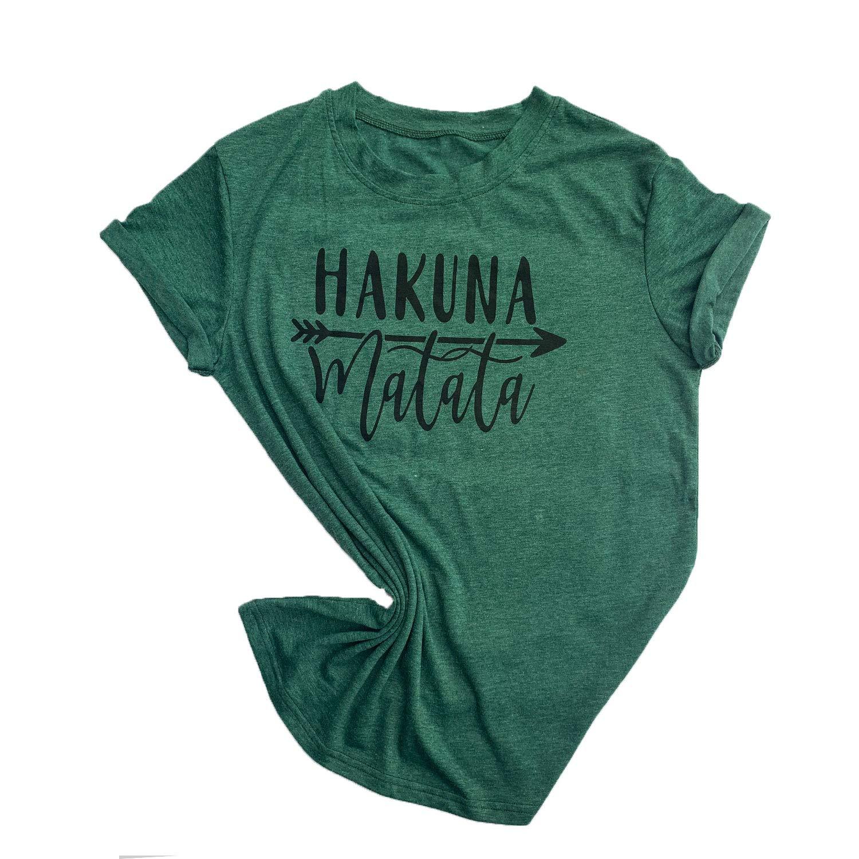 Womens Hakuna Matata Shirt Short Sleeve Graphic Tees Funny Christmas Love T Shirts Casual Blouse Tops