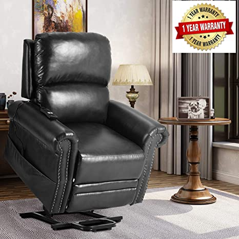 Harper & Bright Designs 191618 Power Lift Soft PU Leather Upholstery Recliner Living Room Sofa Chair, One Size, Black 1