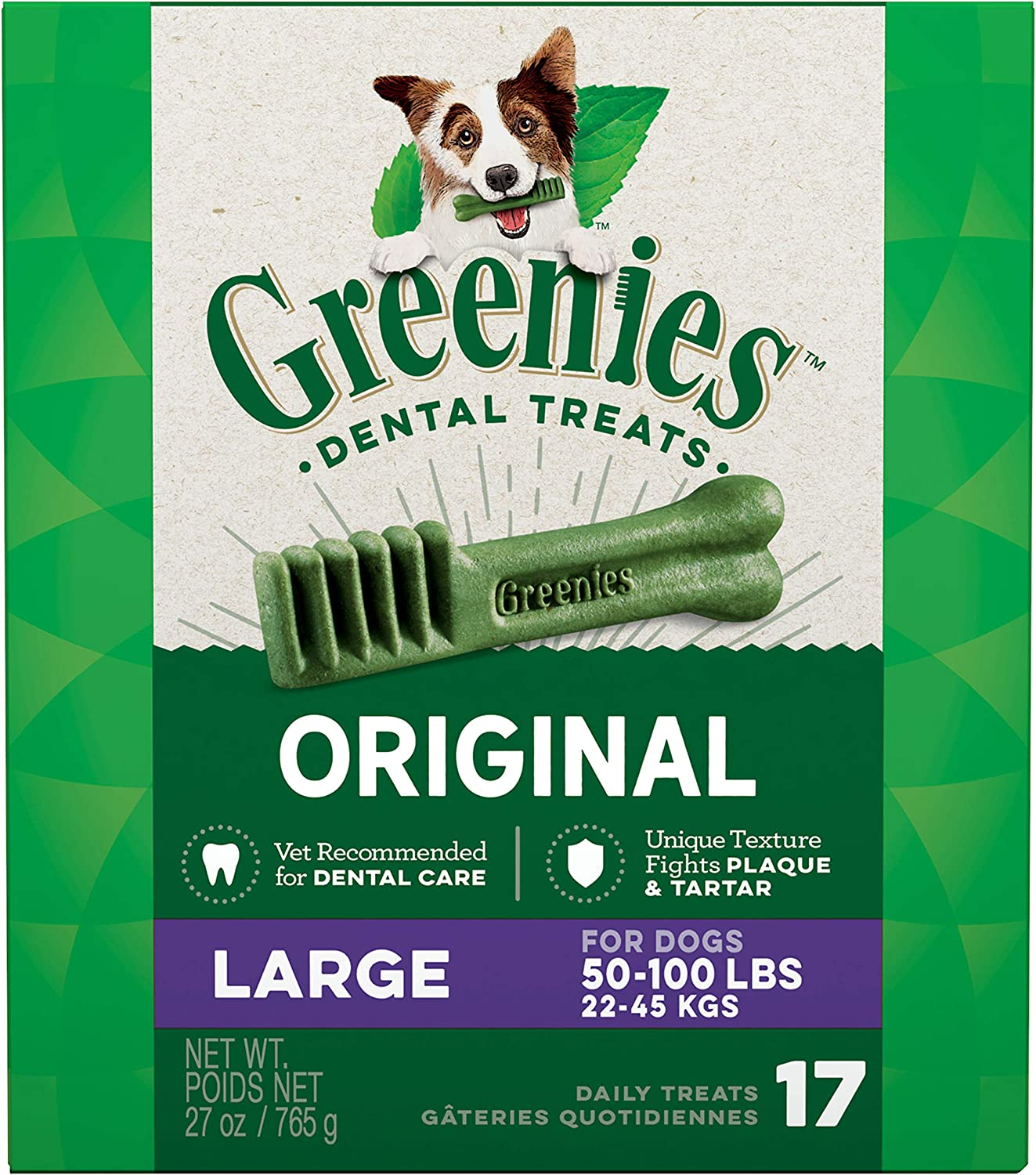 GREENIES Original Large Dog Natural Dental Treats – 27 Ounces 17 Treats