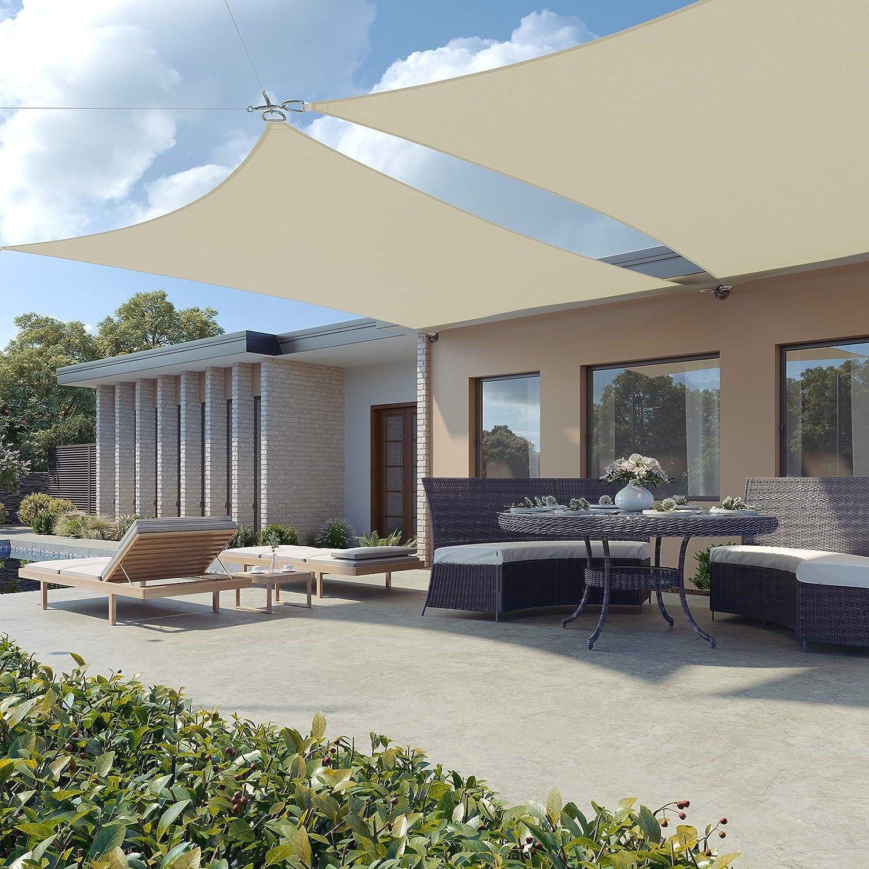 Schermo UV SONGMICS Vela Ombreggiante 3 x 3 m Grigio Chiaro GSS33QY Respirante Tenda a Vela in HDPE per Giardino Terrazzo Balcone