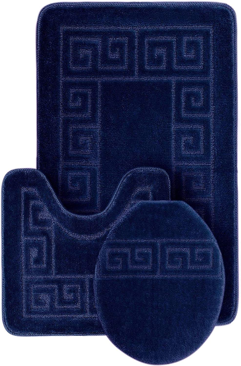 Amazon Com Wpm World Products Mart Bathroom Rugs Set 3 Piece Bath Pattern Rug 20 X32 Large Contour Mats 20 X20 With Lid Cover Navy Home Kitchen