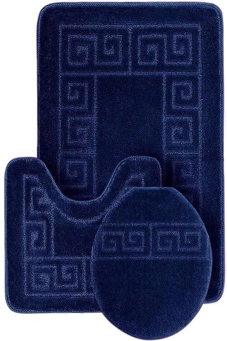 Amazon Com Wpm World Products Mart 3 Piece Bath Rug Set Pattern