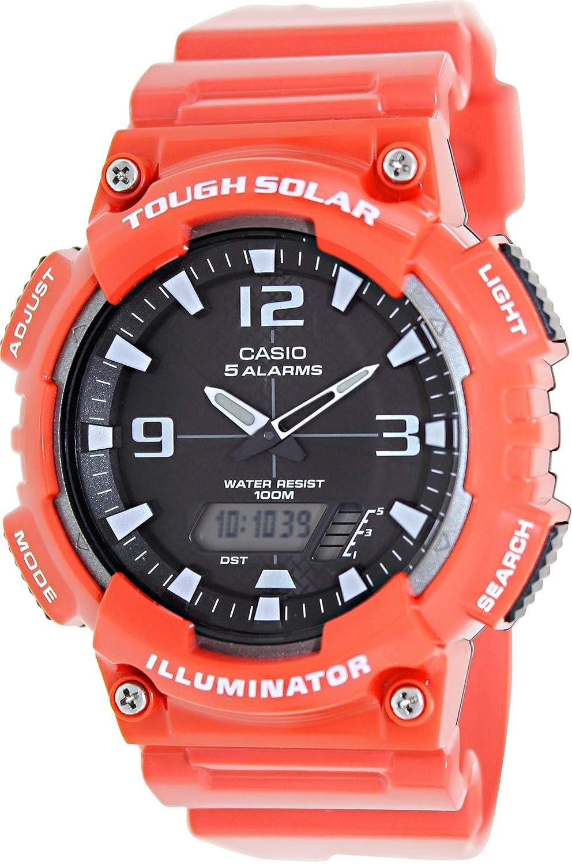Casio #AQ-S810WC-4AV Mens Red Solar Analog Digital World Time Sports Watch