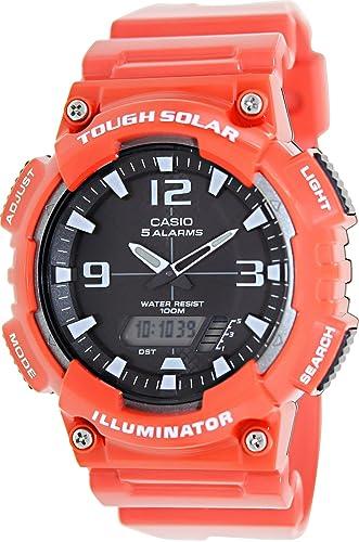 Amazon.com: Casio # aq-s810wc-4av de los hombres rojo Solar ...