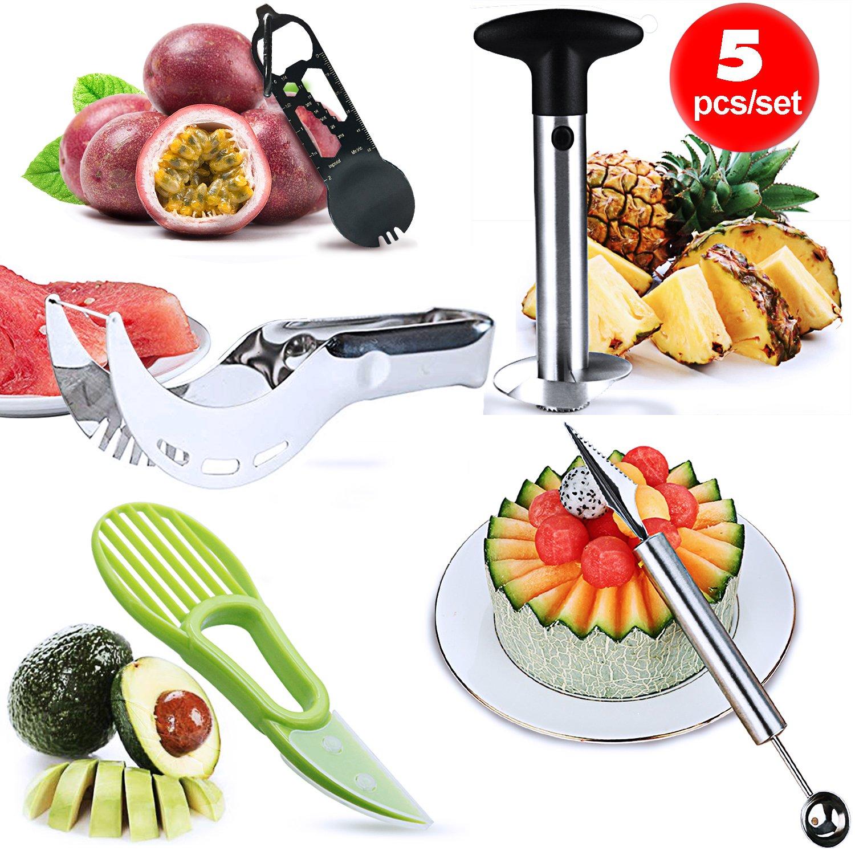 Lasten Fruit Slicer Peeler Set of 5 ,Stainless Steel Pineapple Corer, Watermelon Slicer, Avocado Slicer, Carving Knife&Melon Baller Scoop and Outdoor Spork, Kitchen Fruit Tools Set