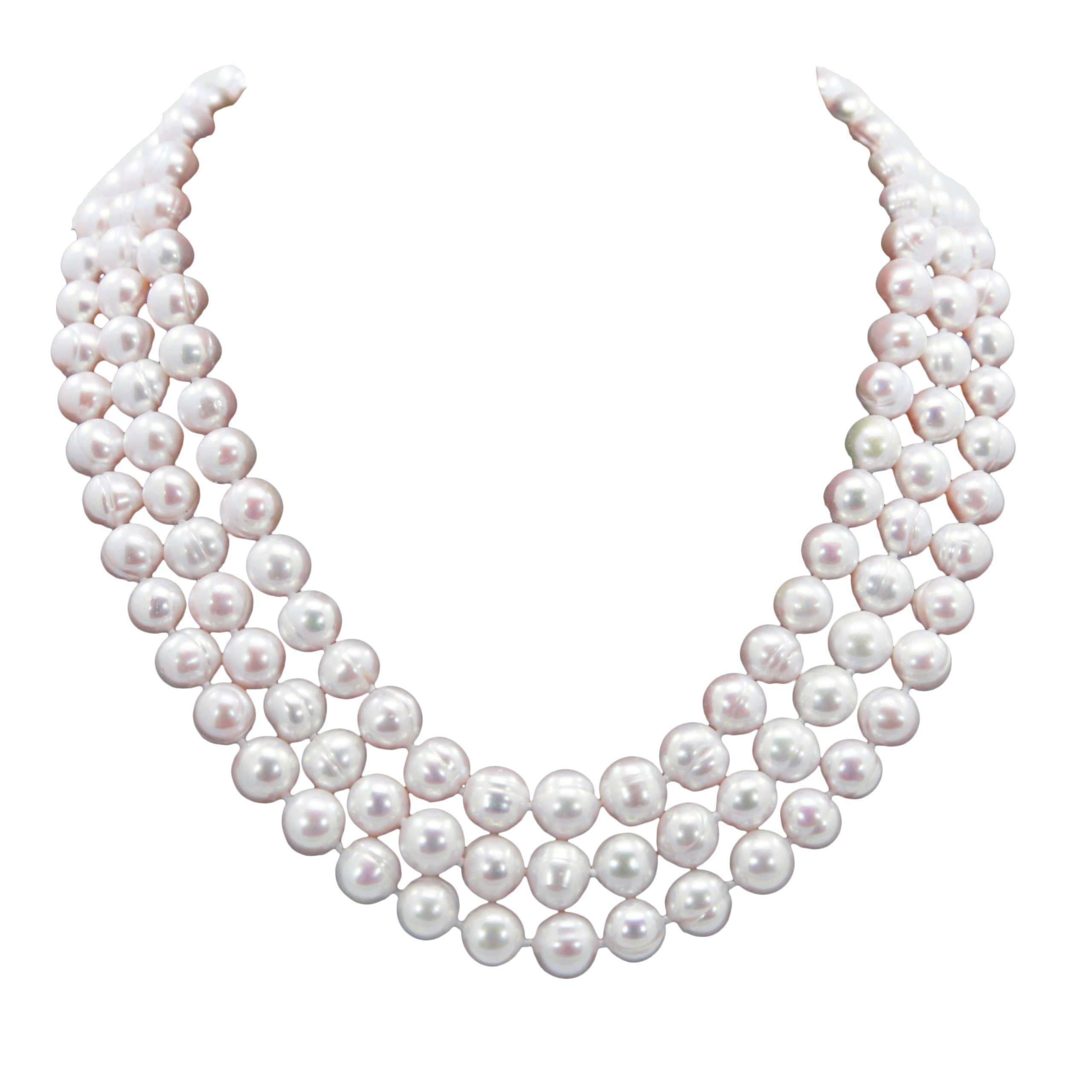 9.0-10.0 mm 3-row Handpicked Ultra-Luster White Circl?Freshwater Cultured Pearl Necklace 17'', 18''/19''
