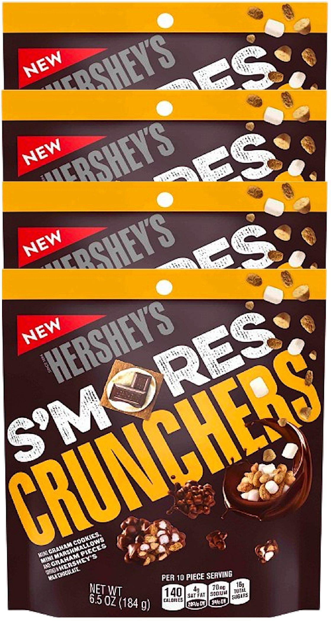 NEW Hershey's S'mores Crunchers Mini Graham Cookies Mini Marshmallows Covered In Hershey's Chocolate Heaven- 6.5oz (4)