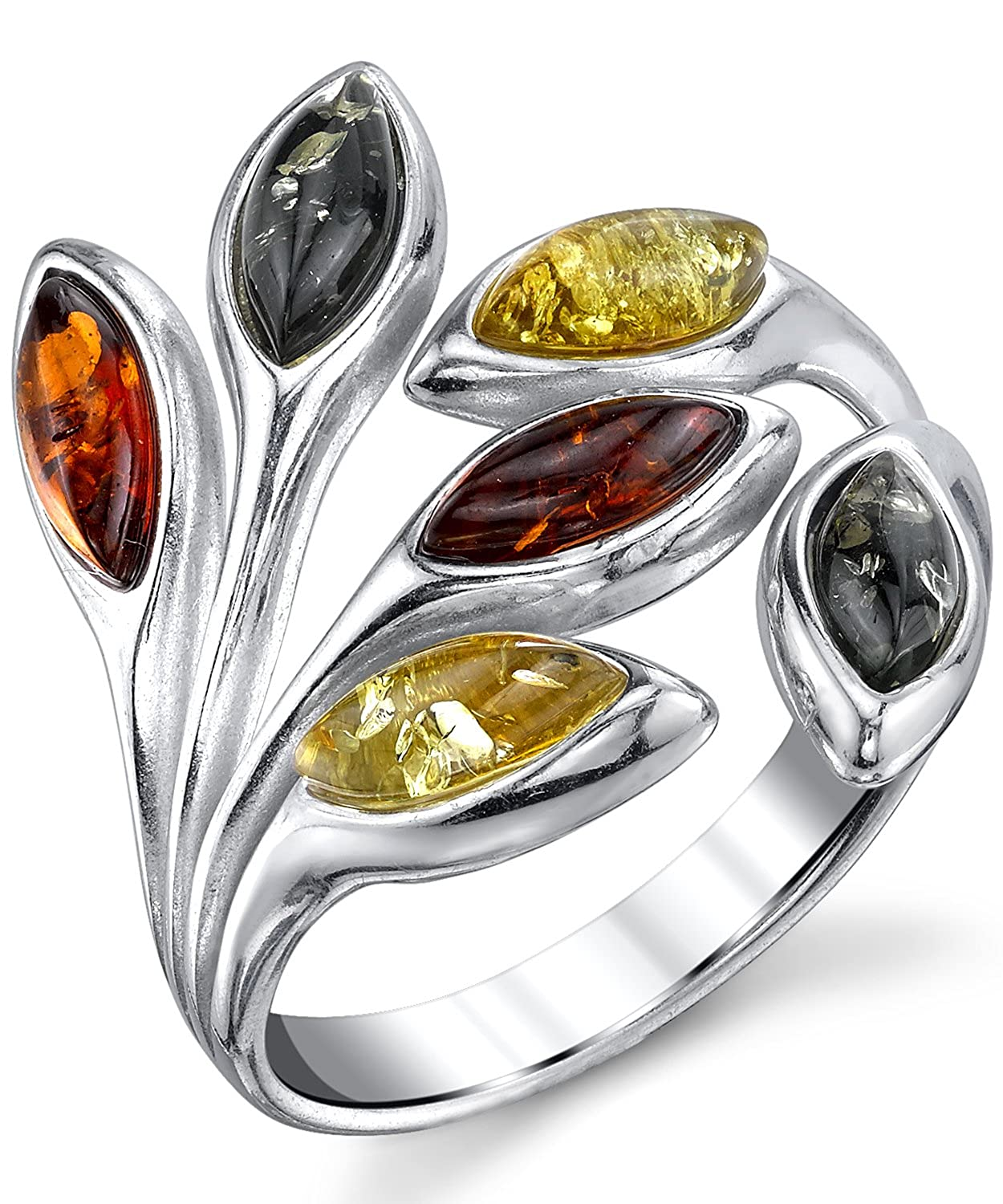 Sterling Silver Baltic Amber Multi Color Leaf Ring, Cherry Honey Cognac and Olive Colors 5 to 9
