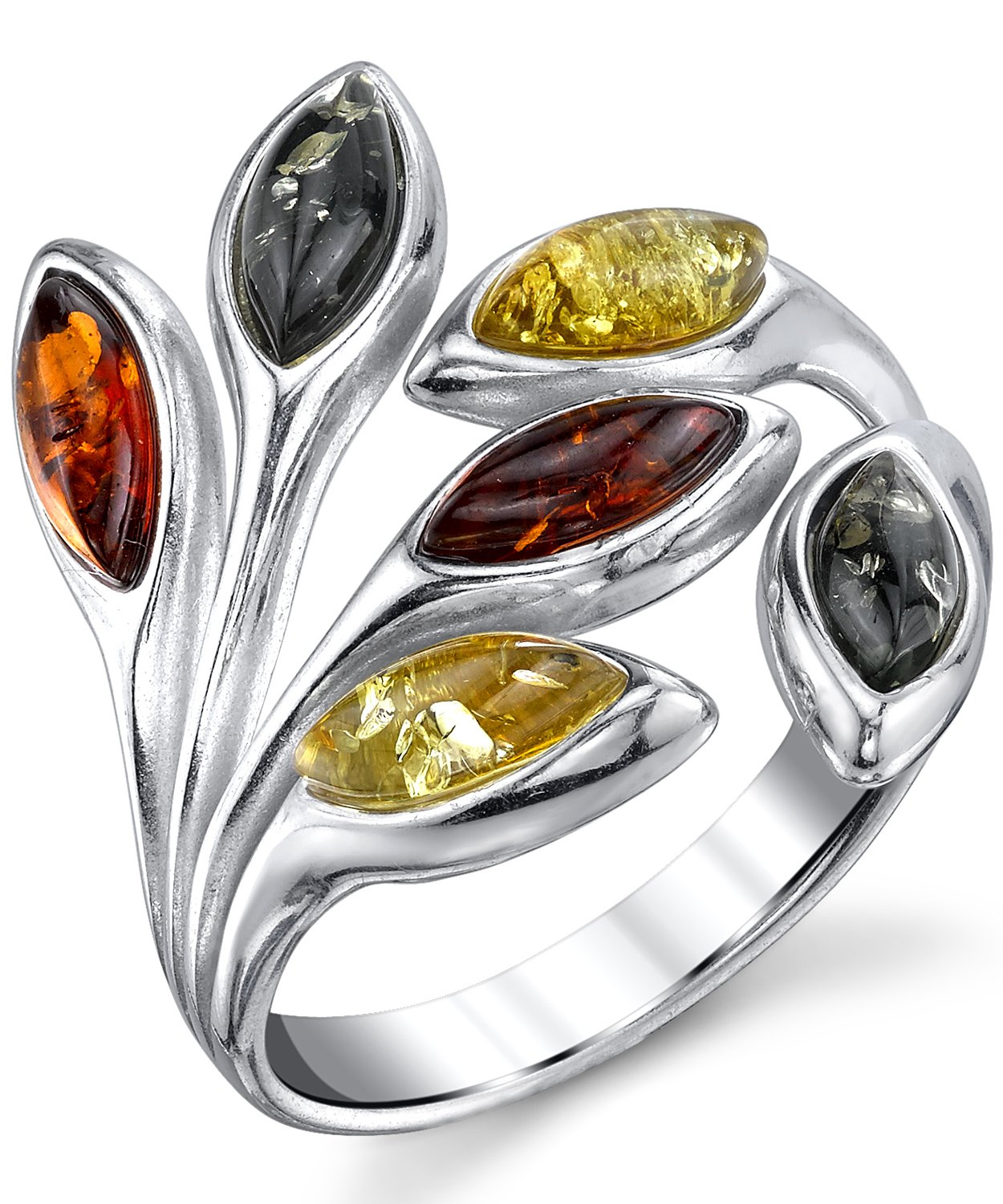 Sterling Silver Baltic Amber Multi Color Leaf Ring, Cherry Honey Cognac and Olive Colors 5