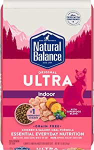 Natural Balance Original Ultra Indoor Dry Cat Food, Chicken and Salmon Meal, 15 Pounds