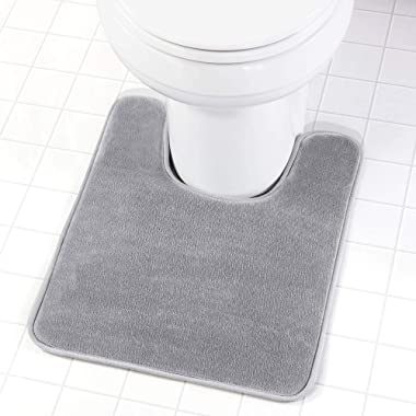 Genteele Memory Foam Toilet Bathroom Rugs U-Shaped Contour Toilet Mat, Non Slip, Machine Washable, Absorbent, Super Cozy Velvet Bathroom Toilet Carpet, 20 inches X 24 inches Contour, Gray