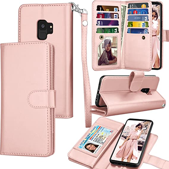 half off 7a6dd 07e52 Tekcoo Compatible for Galaxy S9 Wallet Case/Samsung Galaxy S9 PU Leather  Case, Luxury ID Cash Credit Card Slots Holder Carrying Folio Flip Cover ...