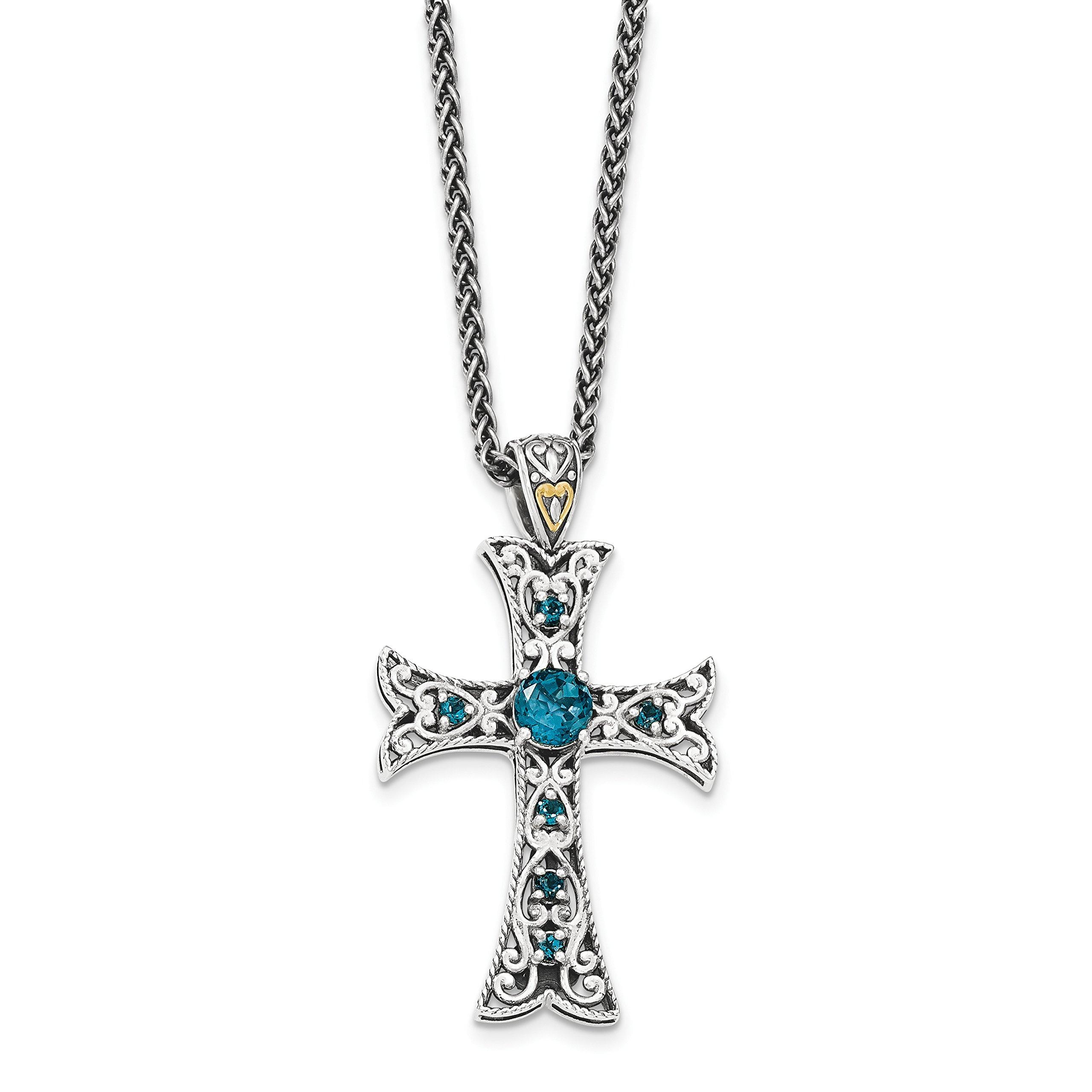 ICE CARATS 925 Sterling Silver 14k London Blue Topaz Cross Religious Chain Necklace Gemstone Fancy Fine Jewelry Gift Set For Women Heart